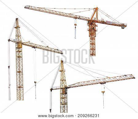 set of hoisting cranes isolate on white background
