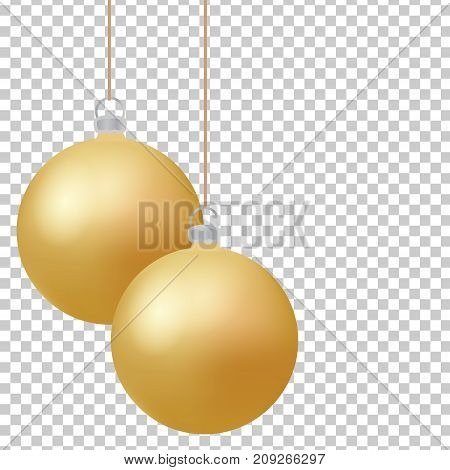 Classic christmas golden balls with glance. Isolated new year baubles design elements for invitations greeting cards sales posters and other winter holidays design