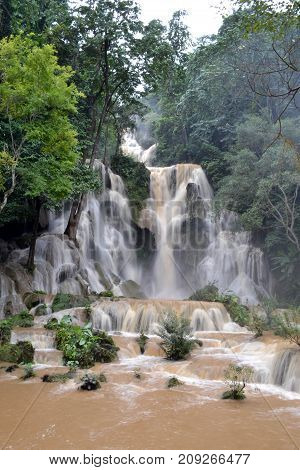 Walk Around Kuang Si Waterfall In Luang Prabang, Laos. The Water Is Supposed To Be Blue/emerald Gree