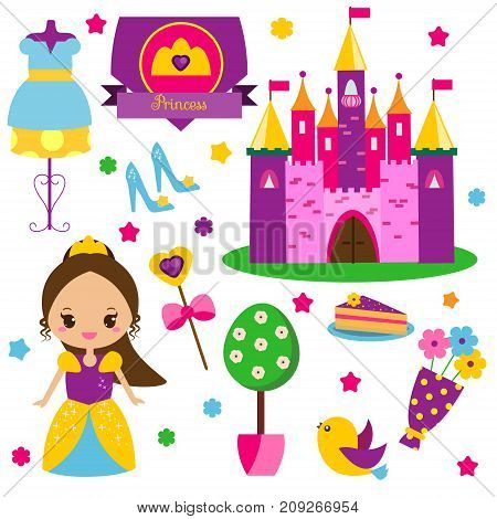 Princess kit. Stickers clip art for girls. Castle dress shoes and other fairy symbols for invitations scrapbook blogging kids mobile games