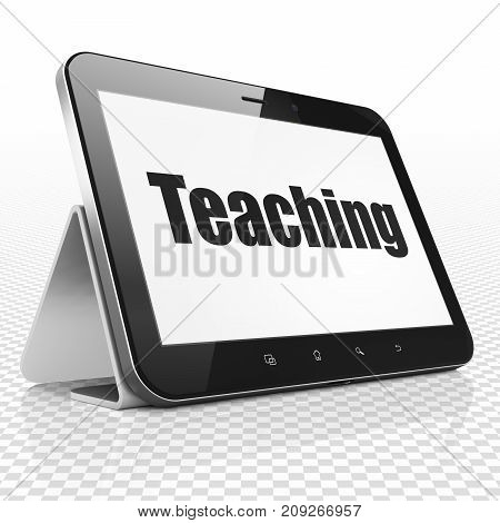Studying concept: Tablet Computer with black text Teaching on display, 3D rendering