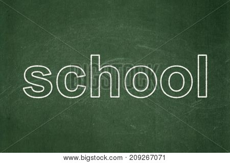 Education concept: text School on Green chalkboard background