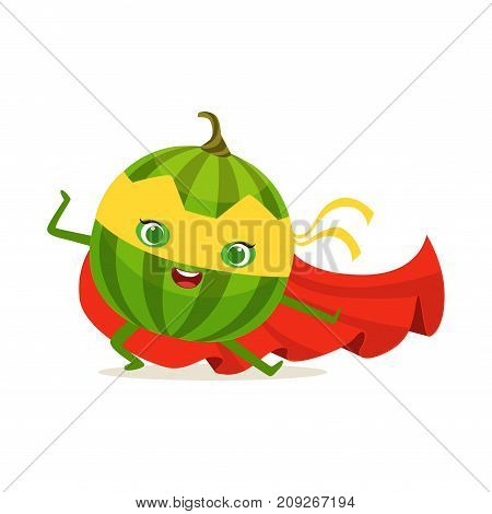 Funny cartoon character of superhero watermelon in red cape and yellow mask. Karate fighter pose. Fresh fruit hero avenger. Flat vector isolated on white. For card, kid t-shirt, book illustration.