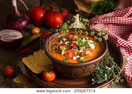 Cream Puree Soup From Baked Tomatoes, Eggplants, Pepper, Red Onion. Healthy Vegetarian Food.