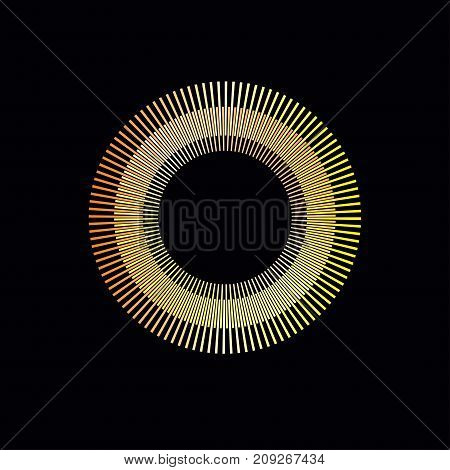 Gold round gradient design element. Template for logo icons. Empty frame with rays sunburst burst sun fireworks sunbeam. - Stock vector