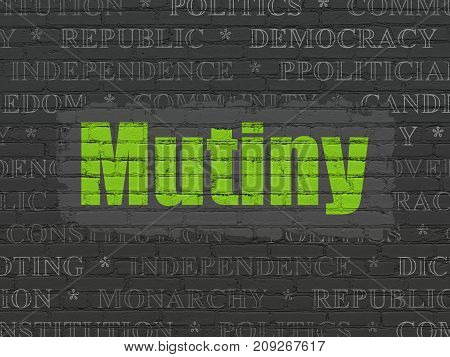 Political concept: Painted green text Mutiny on Black Brick wall background with  Tag Cloud