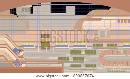 Background of hall at airport vector illustration.