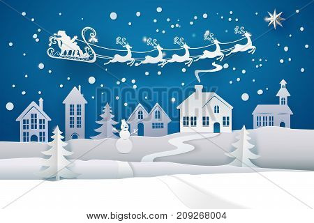 Paper Santa Claus Sleigh Reindeer Fly Sky over white Winter Snow Countryside Landscape. Happy new year and Merry Christmas paper art, cut and craft style banner. Vector illustration. Holly Night