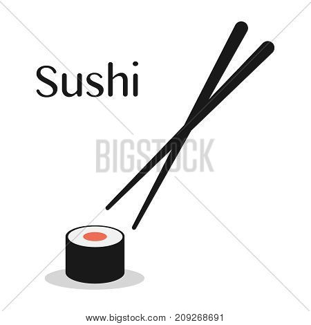 Chopsticks and sushi roll. concept of snack, susi, exotic nutrition, sushi restaurant, sea food. isolated on white background. flat style trend modern logotype design vector illustration