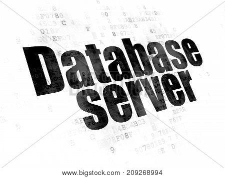 Software concept: Pixelated black text Database Server on Digital background