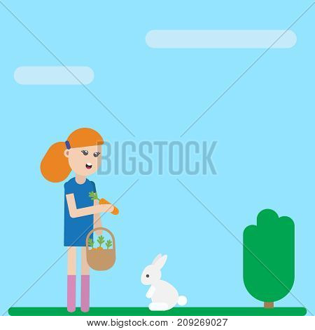 Cute cartoon child girl character is feeding her tame pet white rabbit. Vector flat icon illustration EPS10