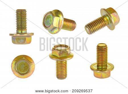 Zinc self locking screw. Metal bolt isolated on white background