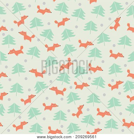 Cute seamless pattern with foxes and trees. Children's background.