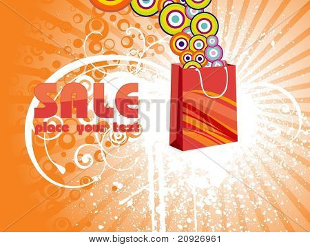 vector illustration, shopping bag with fancy circles poster