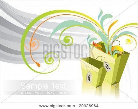 vector illustration, overflow shopping bag
