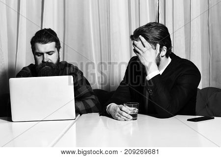 Bearded Men, Businessmen With Glass Of Whiskey, Laptop And Phone