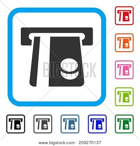 Bank Card Terminal icon. Flat grey iconic symbol inside a light blue rounded square. Black, gray, green, blue, red, orange color additional versions of Bank Card Terminal vector.