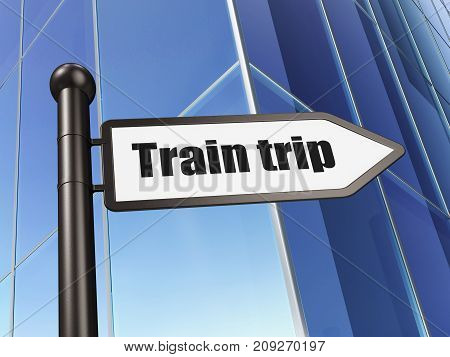 Tourism concept: sign Train Trip on Building background, 3D rendering