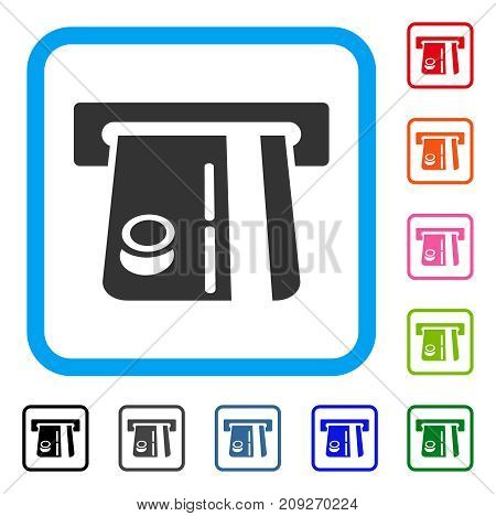 Bank Terminal icon. Flat grey iconic symbol in a light blue rounded squared frame. Black, gray, green, blue, red, orange color variants of Bank Terminal vector. Designed for web and app interfaces.