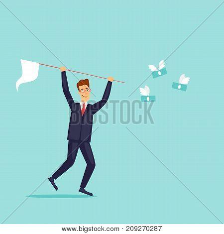 Businessman is catching money. Flat design vector illustration.