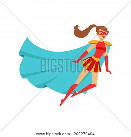 Female superhero in classic comics costume with blue cape, red skirt and mask. Smiling flat cartoon character with super powers. Friendly flying woman hero. Vector illustration isolated on white