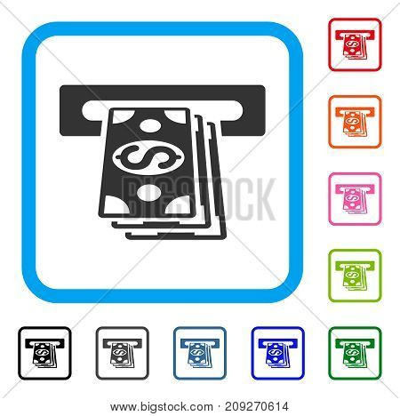Cash Machine icon. Flat gray pictogram symbol in a light blue rounded frame. Black, gray, green, blue, red, orange color variants of Cash Machine vector. Designed for web and application interfaces.