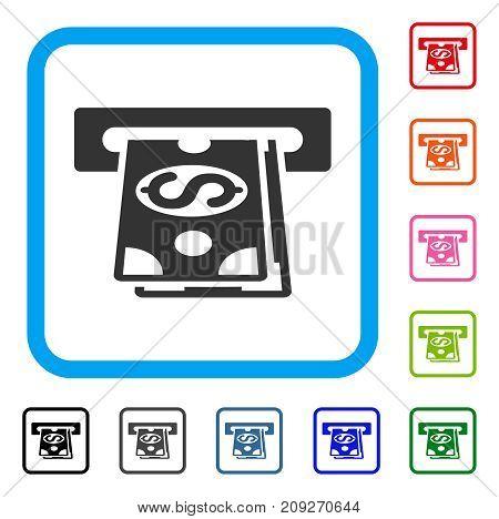 Cash Machine icon. Flat grey iconic symbol inside a light blue rounded rectangular frame. Black, gray, green, blue, red, orange color variants of Cash Machine vector.