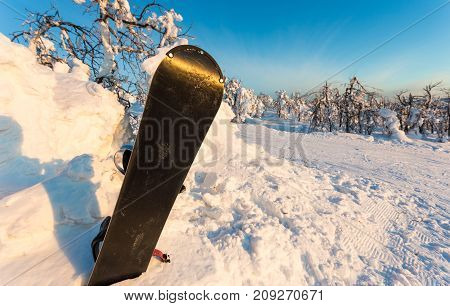 Snowboard in snowdrift after snowfall in snow winter mountains at nice sun day.