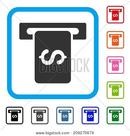Cash Machine icon. Flat gray iconic symbol inside a light blue rounded squared frame. Black, gray, green, blue, red, orange color versions of Cash Machine vector. Designed for web and application UI.