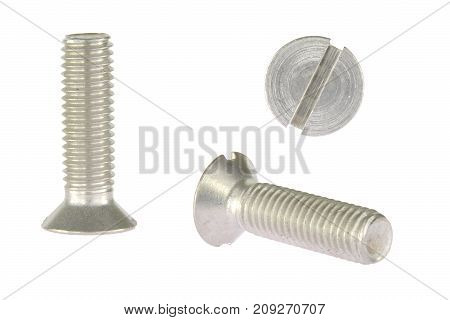 Countersunk metal bolt screw isolated on white background
