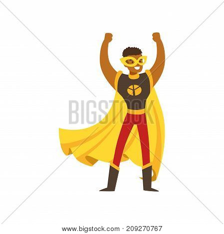 Black man superhero in classic comics costume with yellow cape and mask. Smiling flat cartoon hero character with super powers. Friendly boy stands with hands up. Vector illustration isolated on white