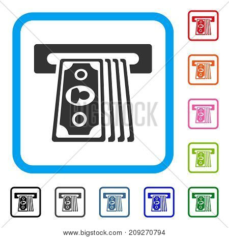 Cashpoint Terminal icon. Flat grey iconic symbol inside a light blue rounded rectangle. Black, gray, green, blue, red, orange color versions of Cashpoint Terminal vector.