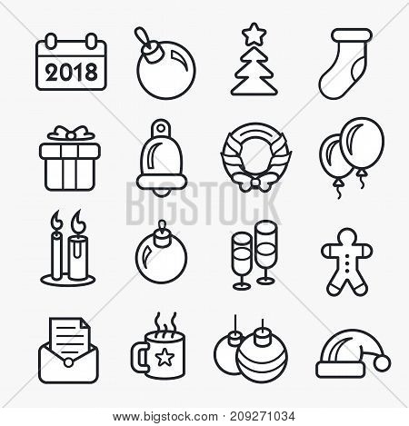 New year linear christmas icon set 2018 style