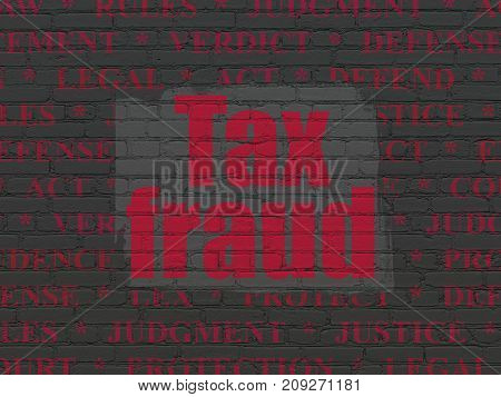 Law concept: Painted red text Tax Fraud on Black Brick wall background with  Tag Cloud
