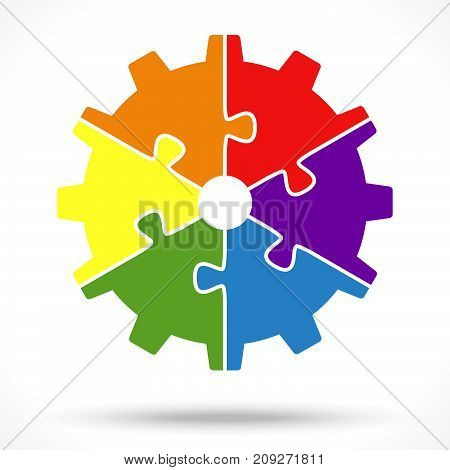 Puzzle Gear Wheel For Teamwork Symbolism