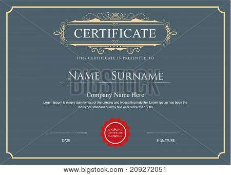 certificate elegant flourishes vector template design illustration