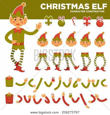 Christmas elf character constructor with body parts in festive costume and holiday presents set isolated cartoon vector illustration on white background. Magic fantastic personage from North Pole.