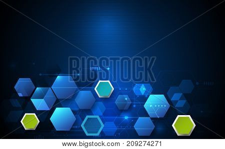 Vector illustration circuit board and 3d paper hexagons background. Hi-tech digital technology and engineering, digital telecom technology concept. Vector abstract futuristic on dark blue color background