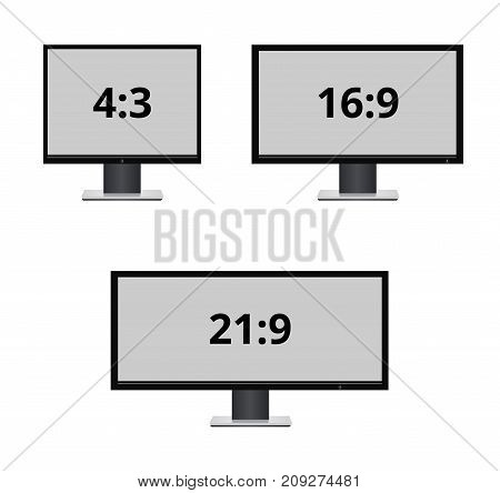 Vector icon monitor sizes. TV screen lcd monitor template electronic device technology. isolated on white background