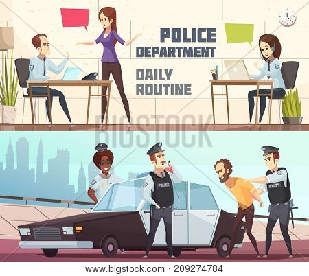 Police department and scene of offender arrest horizontal banners describing working process of staff in office and outdoor vector illustration