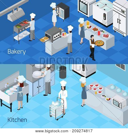 Bakery kitchen interior furniture equipment appliances  2 horizontal isometric banners with cooking staff members isolated vector illustration