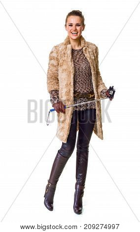 Smiling Trendy Fashion-monger On White With Selfie Stick