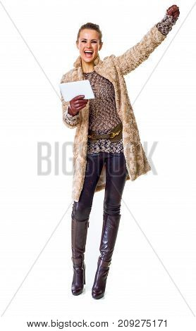 Happy Modern Fashion-monger On White With Tablet Pc Rejoicing