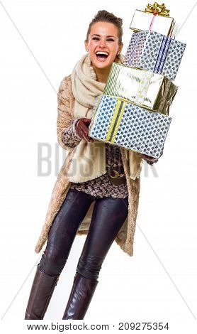 Happy Young Woman On White With Pile Of Christmas Present Boxes