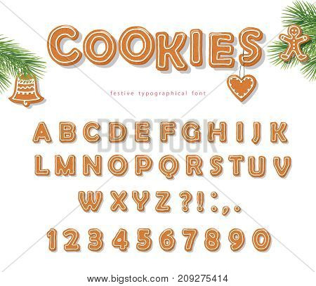 Christmas Gingerbread Cookie font. Biscuit hand-drawn letters and numbers. Vector EPS10