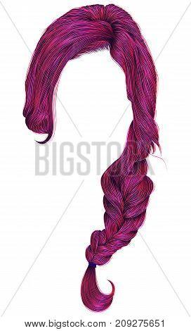 trendy women hairs bright pink colour . plait . fashion beauty style .