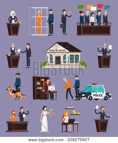 Law and justice orthogonal icons set with courthouse, defendant, police, jury on lilac background isolated vector illustration