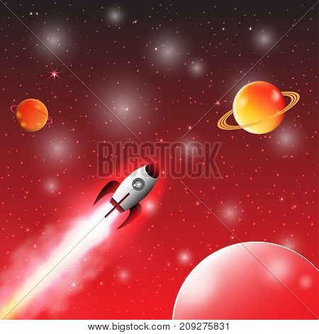 Space exploration with retro rocket planets and stars on dark background with rays and flares vector illustration.
