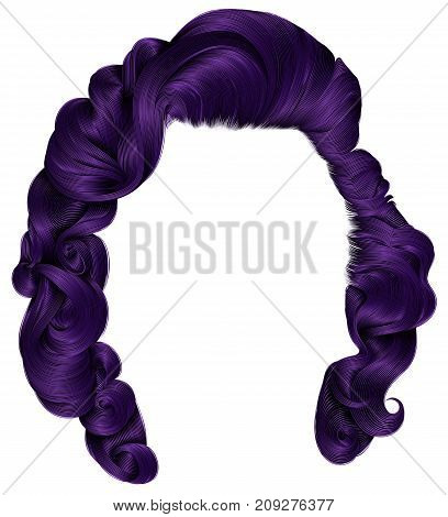 trendy woman hairs purple colors . beauty fashion . retro style curls . realistic 3d .