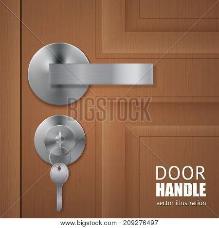 Realistic door handle lock keys composition with wooden door and metal lever with keys in the lock vector illustration
